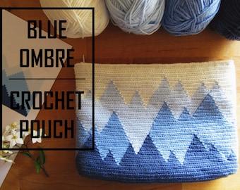 Blue Ombré Crochet Pouch / Tapestry Crochet Pattern / Crochet Bag Pattern / Tapestry Crochet Bag Pattern / Wayuu / Modern Crochet Pattern