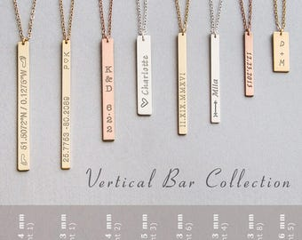 Sterling silver or gold filled Necklace - Personalized Bar Necklace -Long Layered Gold filled or Silver Bar- Birthday Gift • NBV