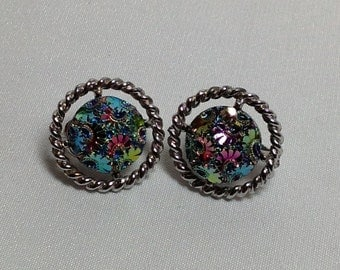 Vintage Sarah Coventry Rainbow Etched Silver Earrings