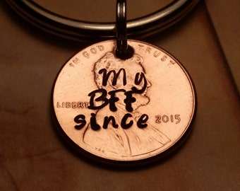 Best Friend Gift/BFF gift/lucky penny gift/penny/lucky penny/custom penny/personalized gift/best friend/cheap gifts/affordable gift/keychain