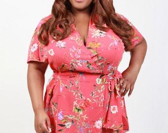 NILA Women's Plus Size Wrap Shirt Blouse in Poppy Red Floral Print