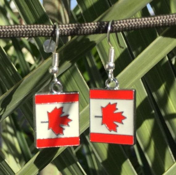 Canadian Flag Antique Silver Enamel Earrings