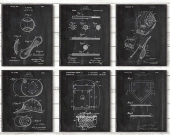 Baseball Patent,Baseball Gifts,Wall Art Poster Set of 6,  Baseball Decor, Baseball Art Gift Ideas For Him, Baseball Pictures Set of 6 #P335