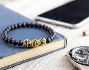 6mm - Matte black onyx beaded stretchy bracelet with gold micro pave balls, made to order bracelet,  mens bracelet, womens bracelet