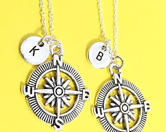 Set of 2) Sterling Silver Compass Necklace - Set of Two, Compass Charm, Compass Jewelry, Custom Compass, Gift For BFF, Gift Compass Charms