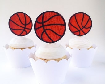 Basketball Cupcake Toppers- Set of 12 – Sports Cupcake Toppers  - Ready to Ship