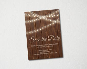 Lights & Wood Save the Date Template/Save the Date Postcard Printable/Save the Date Announcement/Save the Date Card/Instant Download/DIY