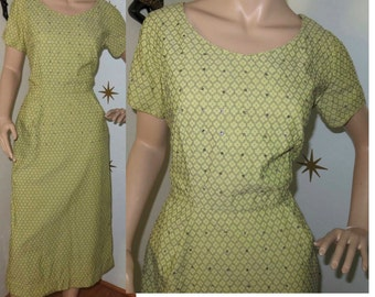 Vintage 1950s yellow rhinestone wiggle dress w/ pockets large 241