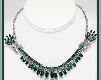 Vintage Green Rhinestone Necklace,Vintage Rhinestone Necklace,Vintage Rhinestone Jewelry,Vintage Rhinestone Necklace,Unique Vintage Necklace