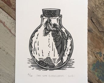 Free shipping // Pickled woodpecker // Original linocut relief print