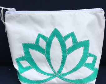 Sunblock Bag -Teal Lotus Flower - Made from Recycled Sail