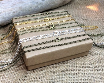 Necklace Chains, Gold plated, Silver plated, Antique Bronze chain, Swarovski embellished or plain, Choose your length, Replacement chains