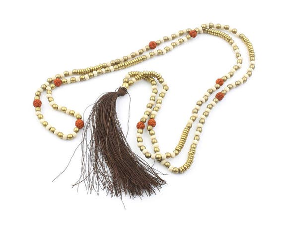 Brass Mala Necklace, Wooden Prayer Beads, Brown Tassel Necklace, Meditation Jewelry, Yoga, Festival, Ethnic Necklace, Boho, Gypsy, Hippie