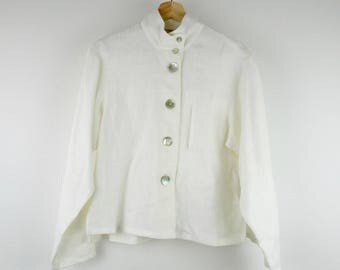 Vintage Linen Top / 90s Minimal Handmade White Boxy Deadstock Breezy Shirt Mother of Pearl Buttons Machine Washable / Medium M
