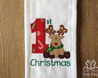 My First Christmas  Bib or Burp Cloth -  My 1st Chritsmas  with Reindeer- Baby Christmas