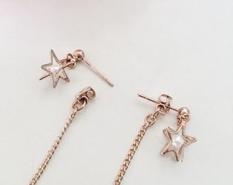 Rose gold star stud with threaded backs