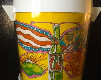 70s Psychedelic 7-Up Ice Bucket Wet Un Wild The Uncola Submarine Butterfly Peter Max Like