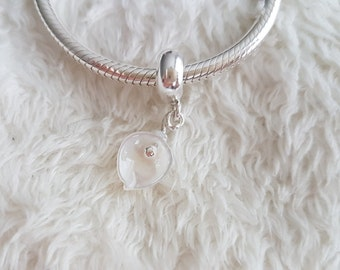 European bracelet charm pendant. Gemstone shell necklace charm. Calla charm pendant.