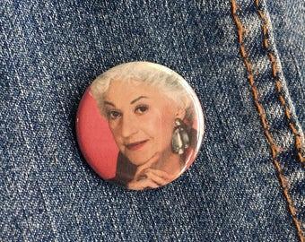 """1.25"""" Bea Arthur Golden Girls Pin Badge - Golden Girls Dorothy Zbornak Pins - Golden Girls Pinback Buttons - Golden Girls Badges"""