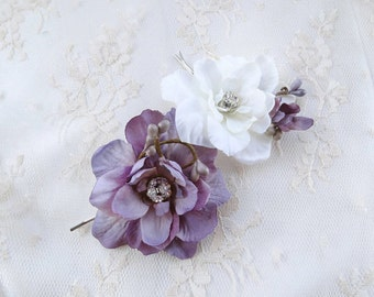 dusty purple hair pins, flower hair pins, lavender prom, flower hair clip, floral hair pins, lavender wedding, purple wedding hair, sparkle