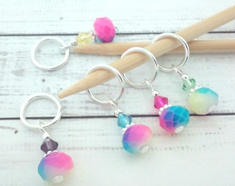 stitch markers - knitting or crochet - multicolour mottled abstract place holders - beaded progress markers