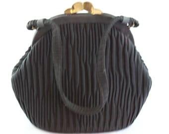 Vintage Black pleated fabric evening Purse with Satin interior