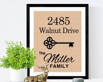 Personalized Address and Last Name | Housewarming Gift, Burlap Sign, Home Established, House Warming Gift, Burlap Print,  Home Sign