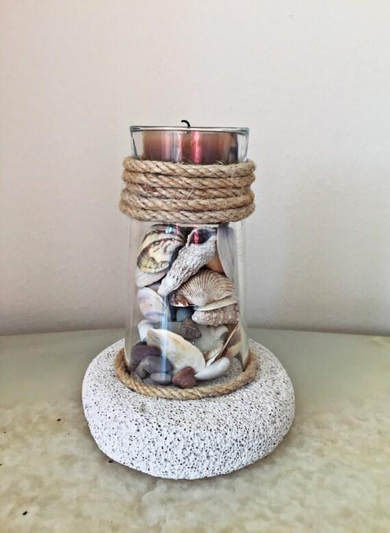 Lighthouse Natural Stone : Seashells decor lighthouse pumice stone candle holder