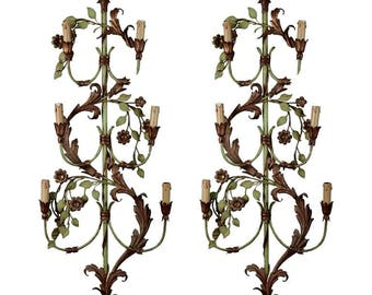 Pair of French Tall Six-Light Green and Gilt Tole Sconces [4251]