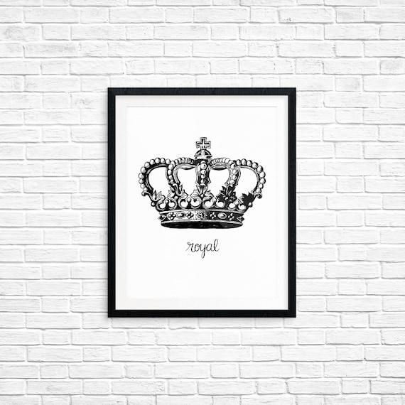 Printable Art, Royal Crown, Royalty Printable, Queen, King, Spiritual Symbol Art, Home Decor, Art Printable, Digital Download Print