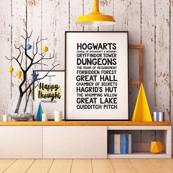 Printable Art, Hogwarts, Harry Potter, Wizarding World Locations, Book Quote, Typography Art Prints, Digital Download Print