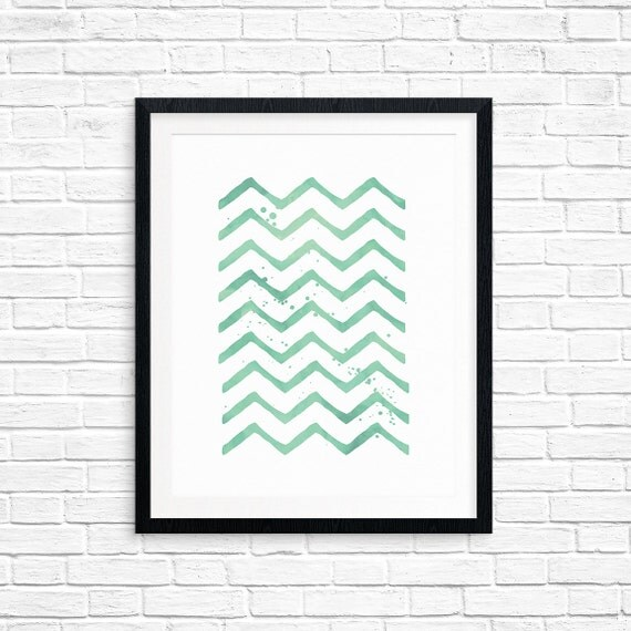 Printable Art, Mint Zig Zag, Pattern, Modern Art, Minimalist Art, Art Printable, Home Decor, Digital Download Print