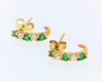 Small Round Diamond and Emerald J-Hoop Earrings - 10k Yellow Gold