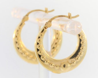 Textured Hoop Earrings- 14k Yellow Gold