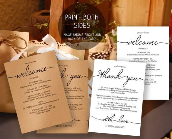 Printable Wedding Itinerary Template Wedding Weekend