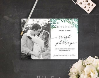 Photo Save the Date Save the Date Postcard Printable Greenery Save the Date Photo Invitation Card Printable File Greenery Wedding Invitation