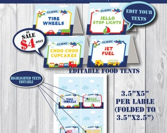 Self-Editing Transportation Birthday Food Tents-Food Labels-Printable Transportation Party--Airplane Car Train Truck First Birthday-Any AGE