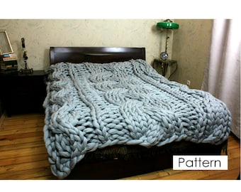 knitting pattern blanket chunky knit blanket pattern instant download pdf pattern blanket - Cable Knit Throw