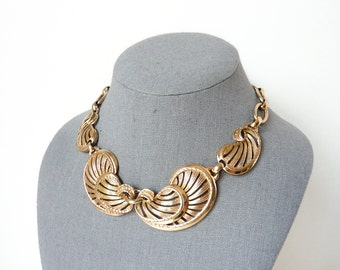 Vintage Bib Necklace by Bergere in Light Gold Wash and Nouveau Statement Design