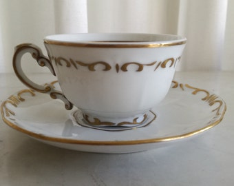 Cup and Saucer Zsolnay Hand Painted Porcelain Vintage 1960c
