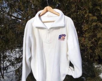 90s Fleece Pullover Branded Dedo's Roadhouse Restaurant Souveneir Fleece Pullover 90s Clothing 80s White Fleece Sweatshirt Size Large