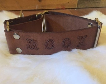 """1.5"""" Wide Brown Leather Martingale Dog Collar With Name"""