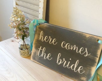 Wooden Wedding Signs, Here comes the Bride Sign, Ringer Bearer Sign, Flower Girl  Don't worry ladies I'm still single, Painted Wedding Sign