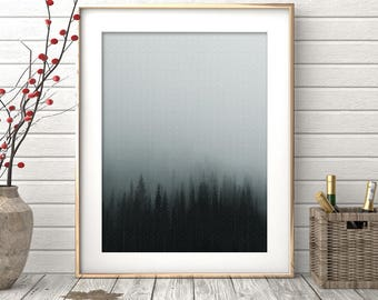 Landscape Prints, Forest Print Minimalist, Forest Fog, Nature Art, Fog and Forest Photography, Fog Print, Misty Forest, Landscape Minimalist