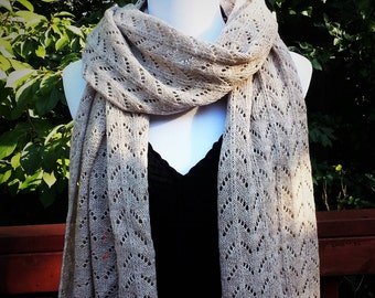 Alpaca and Merino Wool Scarf. Lace Winter Scarf. Beige Scarf. Women's scarf. Gift for her. Gift Idea.