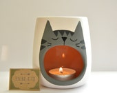 Grey Tabby Cat Oil Burner - Wax Warmer - Wax Melter - Cat Lover - Grey Cat - Kitten - Cat Lady - Candle Holder - White - Hygge - Skandi