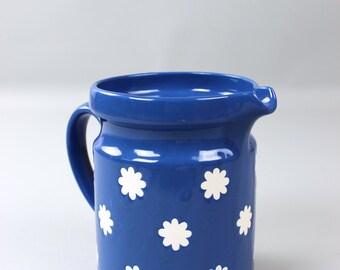 Large vintage jug jug Germany Waechtersbach blue white flower of retro dishes 70s