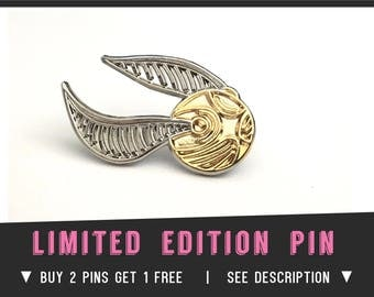 GOLDEN SNITCH PIN Enamel Lapel Pin Harry Potter Fantastic beasts Quidditch Gryffindor Slytherin Badge Pins Costume Hermione Ron Gold plated
