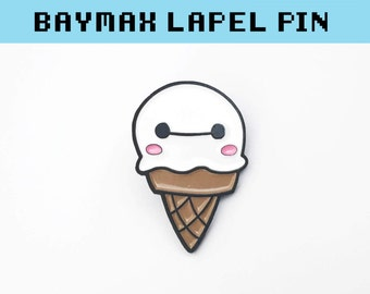 BAYMAX PIN Ice Cream - Enamel Lapel Pin Big Hero 6 Hiro Disney Costume Festival Badge badges pins brooch christmas boyfriend girlfriend gift