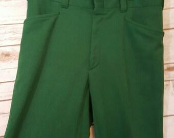 "Vintage, 1970's, Forest green leisure suit pants, Size 34"" waist"